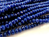 Cobalt Blue Rondelles, Opaque Faceted Glass Beads 4x3mm - 75 pcs. - G6063-CB75