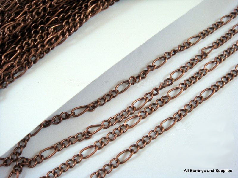 Antique Copper Chain, Mother-Son Figaro Style, Unsoldered, LF/NF 6x3mm/3.5x3mm - 25 feet - STR9038CH-AC25