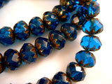 Capri Blue Crullers, Czech Glass Brass Picasso Rondelle Beads 9x6mm - 10 pcs. - G6042-CB10