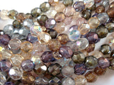 Czech Luster Round Faceted Beads