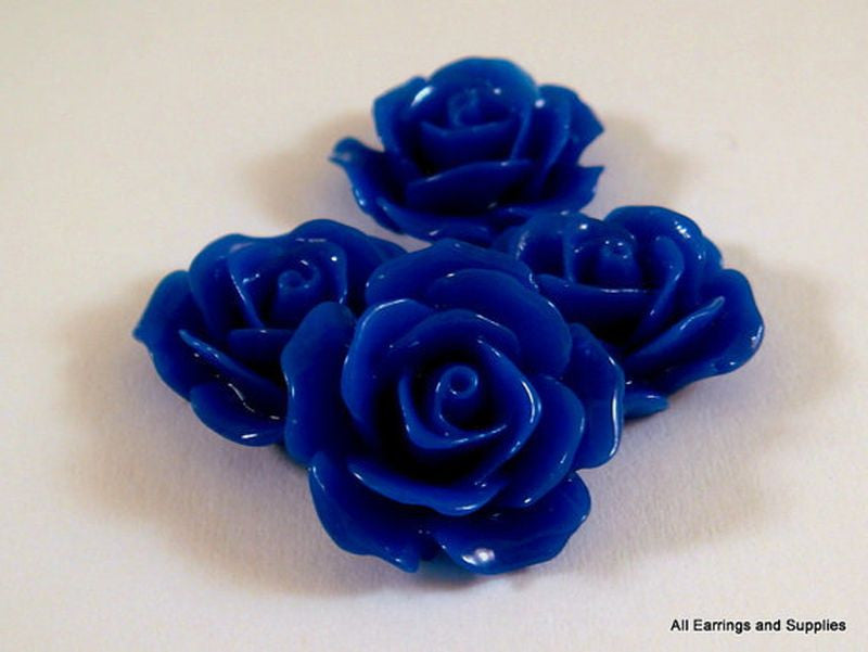 BOGO Dark Blue Flower Cabochons, Royal Acrylic Resin Roses 17mm - 4 pcs. - CA2029-DKB4 - Buy 1, get 1