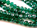Emerald Green Faceted Glass Rondelles
