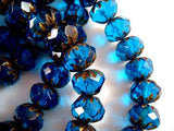 Faceted Blue Czech Glass Cruller Rondelles