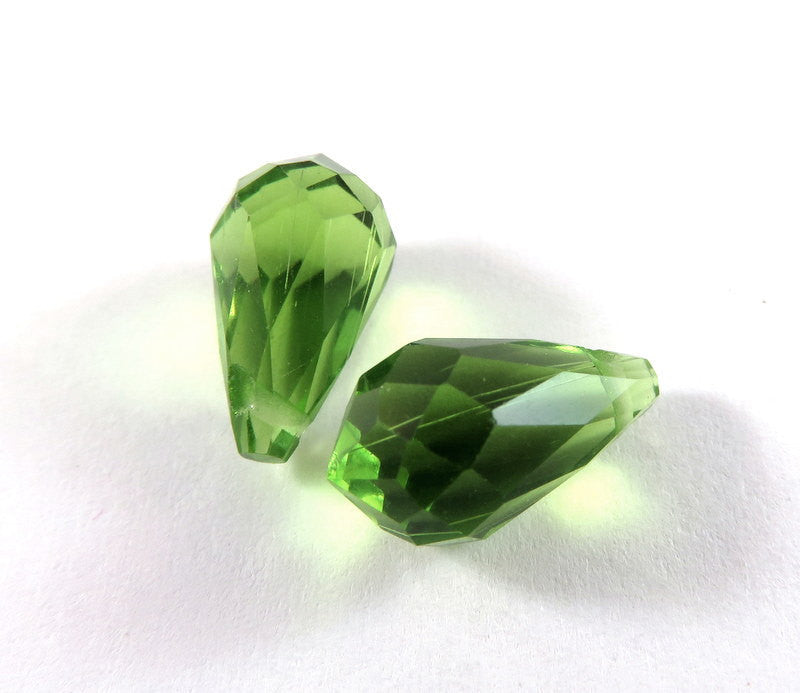 Peridot Green Crystal Teardrops, Transparent Faceted Glass Briolette Beads 13x7mm - 2 pcs. - 1509