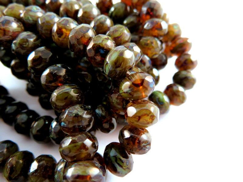Amber Green Rondelles, Czech Glass Topaz Picasso Faceted Beads 7x5mm - 25 pcs. - G6036-BROP25