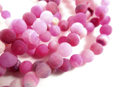 Semi-Precious Stone Beads, Pink Fuchsia Frosted Crackle Agate 6mm - 32 pcs. - S9006AG-FS32