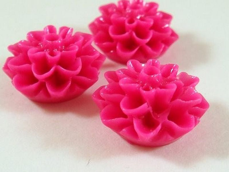 BOGO Fuchsia Flower Cabochons, Hot Pink Acrylic Resin Dahlias 15mm - 10 pcs. - CA2016-F10 - Buy 1, get 1