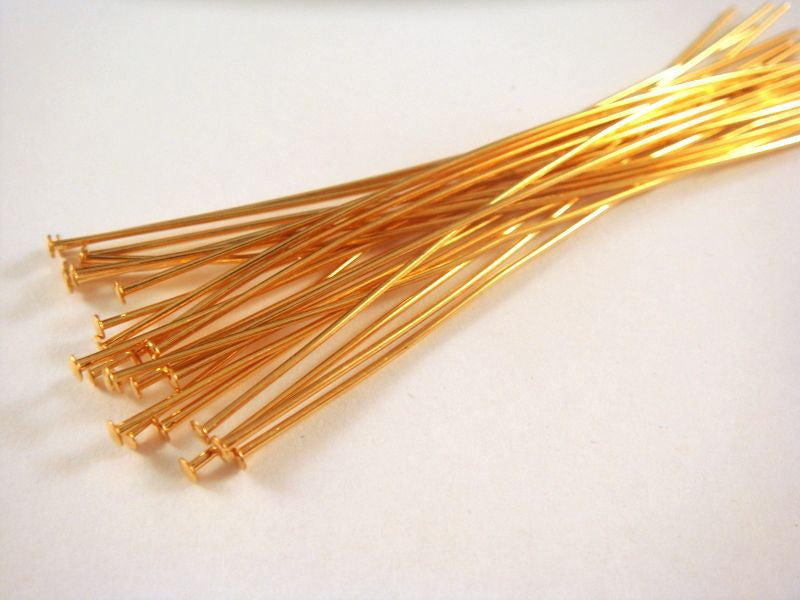 Flat Headpins, Gold Plated Brass, 3 in./7.6cm, 21g - 25 pcs. - F4001HP-G325