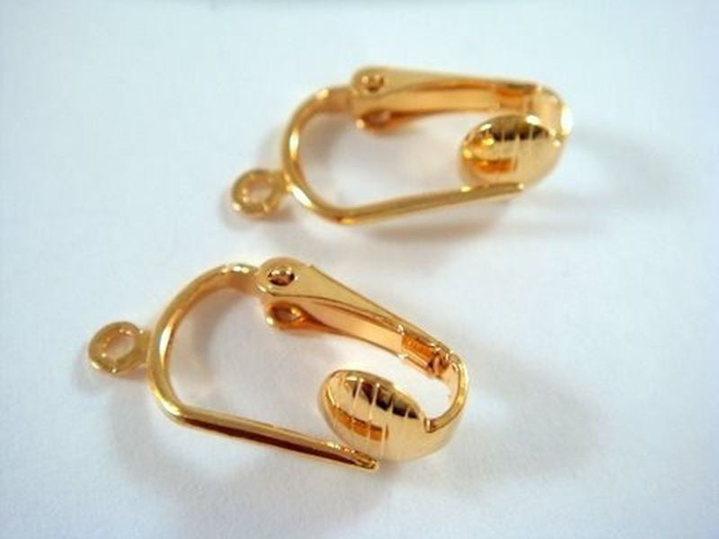 Clip On Earring Bases, Gold Plated Faux Pierced Look - 24 pcs. - F4067EW-G24