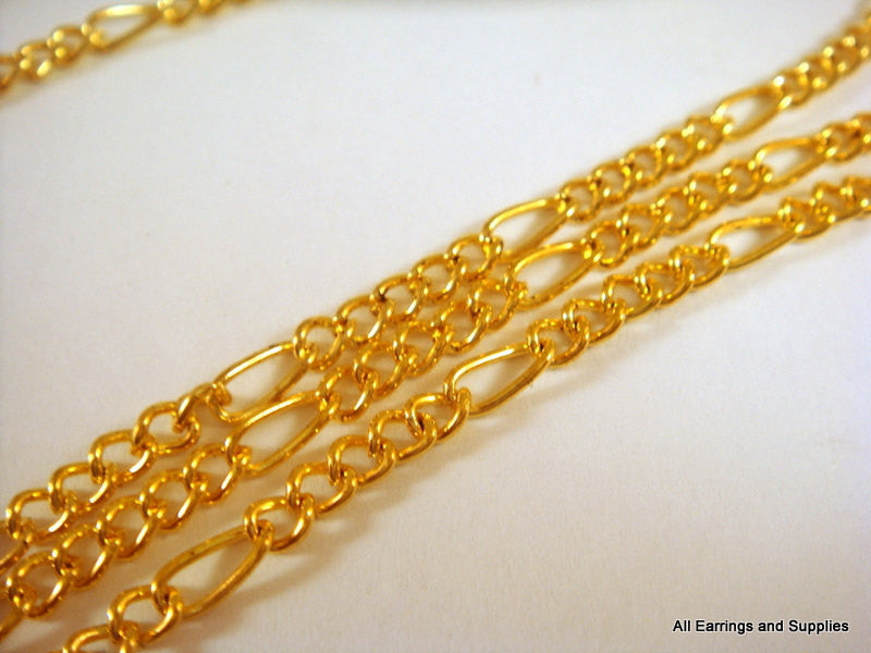 Gold Plated Chain, Mother-Son Figaro Style, Unsoldered, 6x3mm/3.5x3mm - 5 feet - STR9038CH-G5