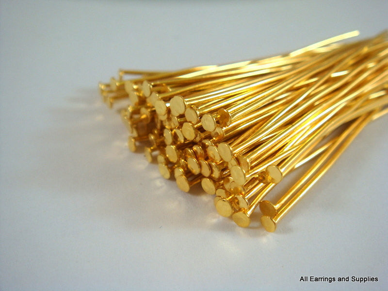 Flat Headpins, Gold Plated Iron, 2 in./50mm, 21g - 100 pcs. - F4001HP-G2100
