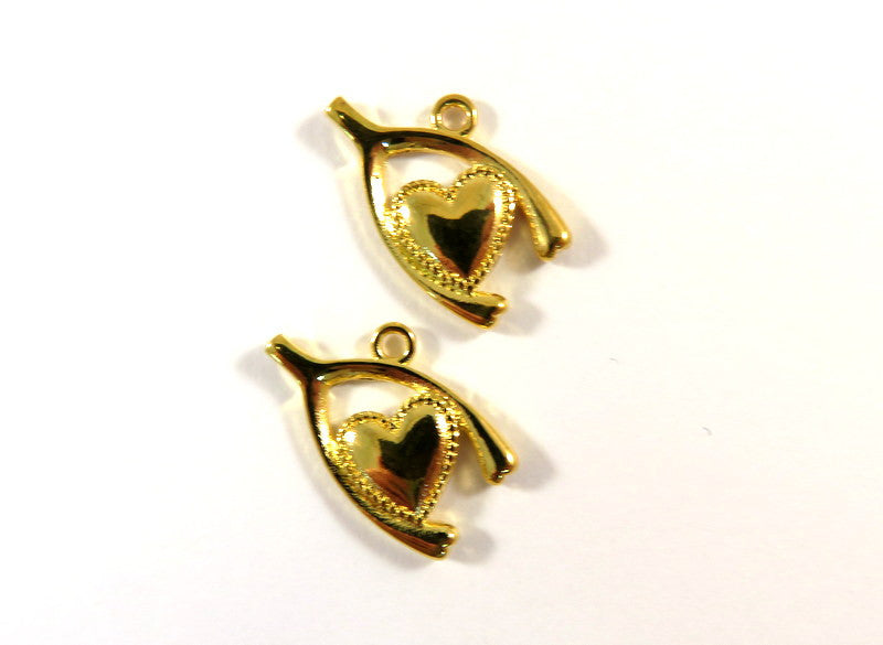 Gold Charms, Wishbone Heart Drops Single-Sided Pendants Plated Copper 20x13mm - 2 pcs. - 6507-13