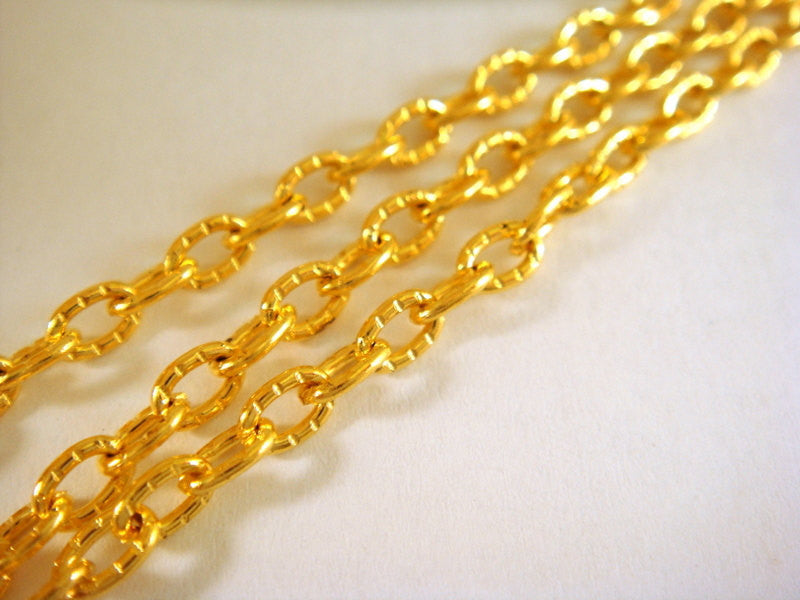 Gold Plated Chain, Oval Textured Cross Style, Unsoldered, 4x3mm - 5 feet - STR9013CH-G5