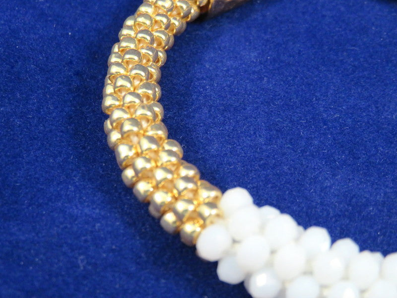 Handmade Kumihimo Bracelet, Glass White Rondelles & Gold TOHO Seed Beads, 8 in. - HJB-ES01 (Only 1 Available)