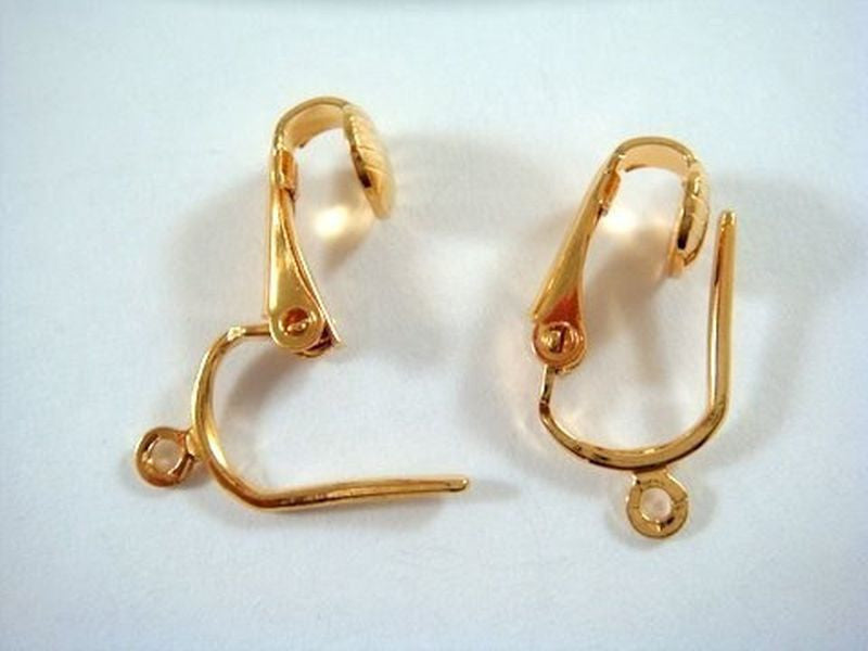 Gold Pierced Look Clip On Earwires