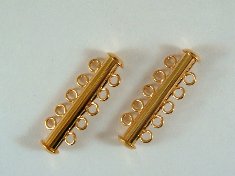 Slide Lock Clasps, Gold Plated Brass 5 Strand 31x6mm - 2 sets - 5514-14