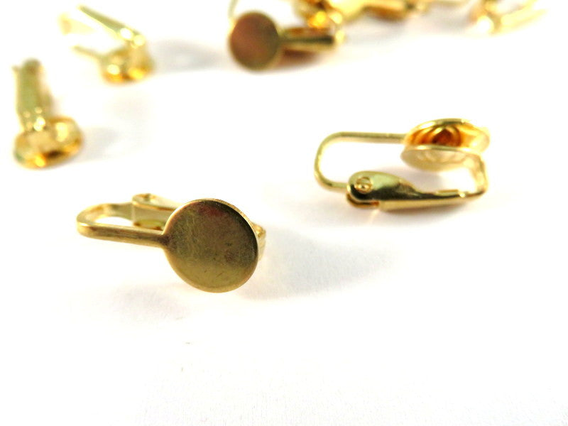 Gold Plated 8mm Glue Pad Earring Bases