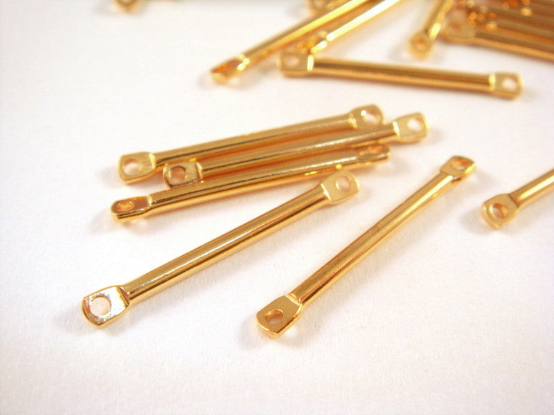 Gold Plated Connectors, Straight Brass Bar Links 17x2mm - 25 pcs. - F4177LK-G25