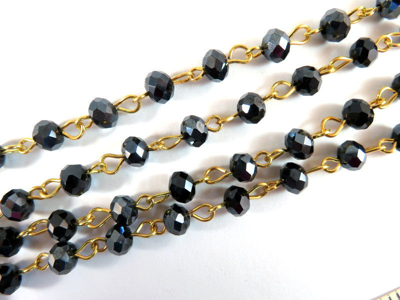 Black Rosary Chain, Gold Plated with Transparent Faceted Glass Rondelles 7x5mm - 39 in. - STR9088CH-BKG39