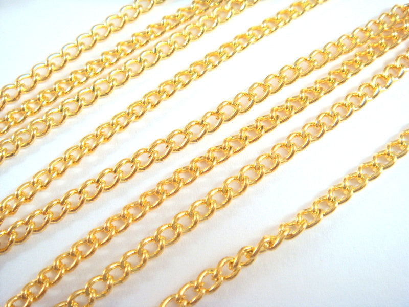 Gold Plated Chain, Curb Style, Unsoldered, 3.7x2.5mm - 5 feet - STR9047CH-G5