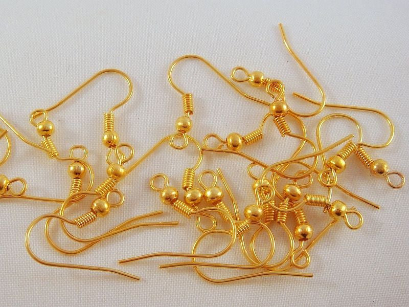 French Hooks, Gold Plated Fishhook Ear Wires NF 18mm - 60 pcs. - F4014EW-G60