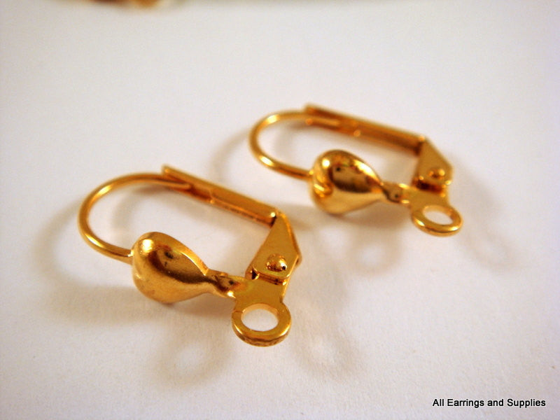 Leverback Earrings, Gold Plated Brass Heart Ear Wires, Open Loop 10mm - 10 pcs. - 6250-4