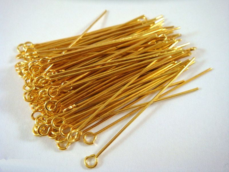 Eye Pins, Gold Plated Iron, 2 in./50mm, 21g - 100 pcs. - F40002EP-G2100