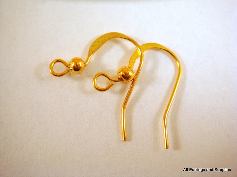 French Hooks, Gold Plated Flat Fishhook Ear Wires 14mm - 20 pcs. - F4005EW-G20