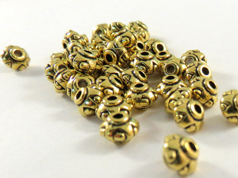 Antique Gold Beads, Large Hole Lantern Barrel Plated Metal Spacers LF/NF 7x5mm - 25 pcs. - M7075-AG25