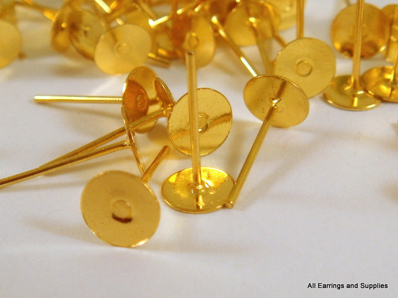 Post Earring Studs, Gold Plated Brass, 6mm Glue Pad - 50 pcs. - F4168ES-G50