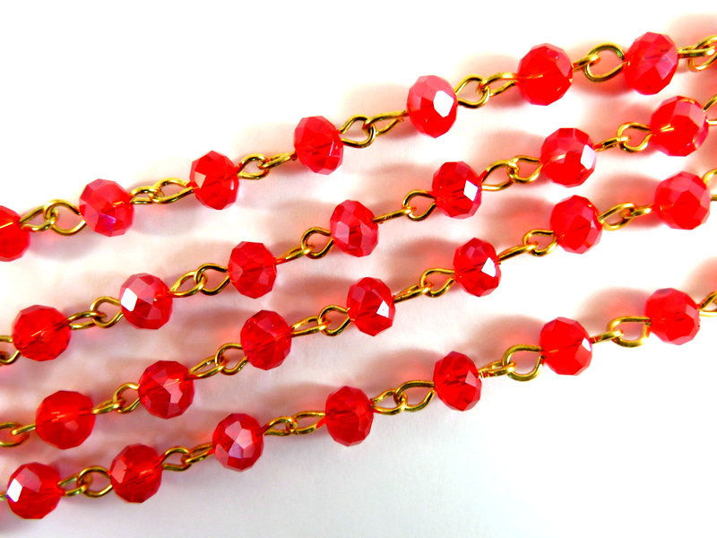 Red Rosary Chain, Gold Plated with Transparent Faceted Glass Rondelles 7x5mm - 39 in. - STR9088CH-RDG39