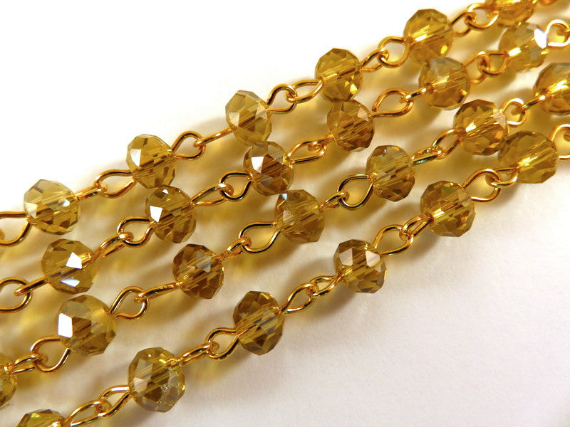 Amber Rosary Chain, Gold Plated with Transparent Faceted Topaz Glass Rondelles 7x5mm - 39 in. - STR9088CH-AM39