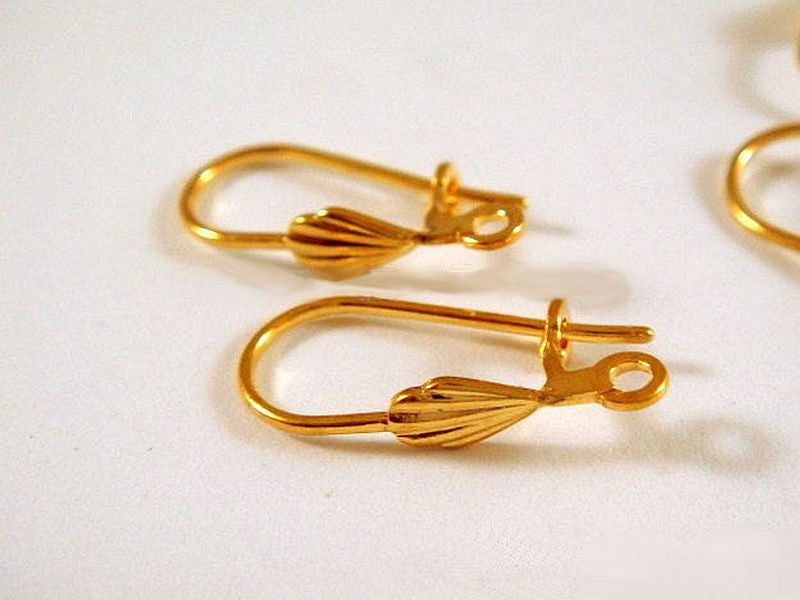 Kidney Wire Earrings, Gold Plated Sea Shell Ear Wires, Open Loop - 10 pcs. - 6247-4