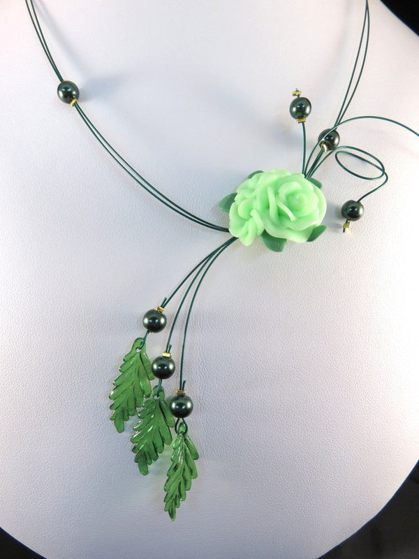Handmade Wire Necklace, Green Glass Beads with Mint Floral Cluster, One of a Kind, 16.5 in. - HJN-0001 (Only 1 Available)