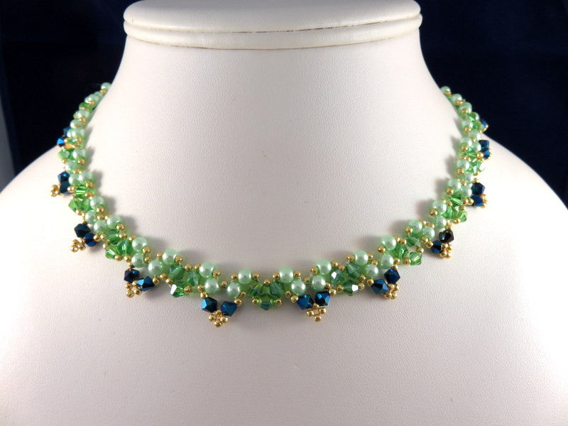 Handmade Woven Necklace, Green & Blue AB Crystals, Green Pearls, Gold TOHO Seed Beads, 16 in., One of a Kind - HJN-ES01 (Only 1 Available)