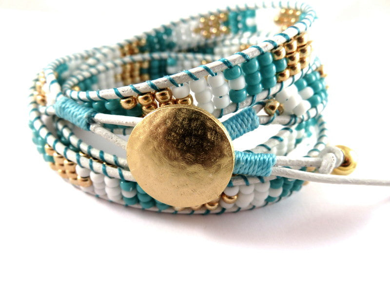 Handmade Leather Wrap Bracelet, White with Turquoise, Gold & White TOHO Glass Seed Beads - HJB-BJA01 (Only 1 Available)