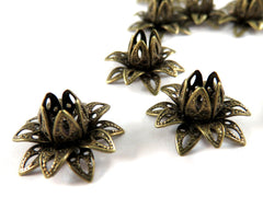Antique Brass Bead Caps, Riveted Layered Lotus Filigree Flowers 16x8mm - 10 pcs. - F4212BC-AB10