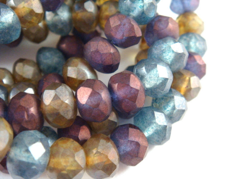 Matte Gemstone Rondelles, Czech Glass Transparent Bead Mix 8x6mm - 25 pcs. - G6041-MIXM25