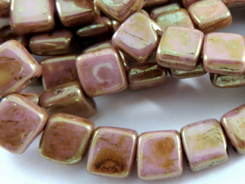 Pink Gold Czechmates, Opaque Two Hole Czech Glass Picasso Square Tile Beads 6mm - 25 pcs. - G6081-PKG25