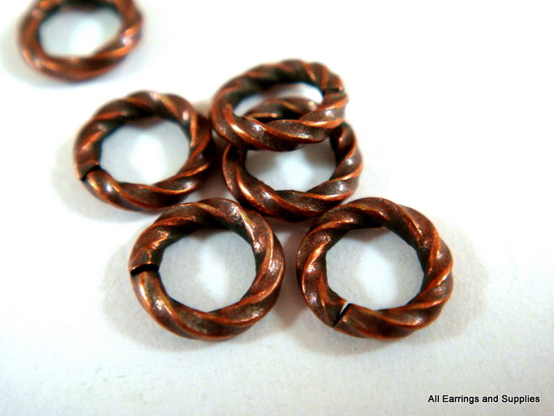 Twisted Jump Rings, Antique Copper Plated Brass, Open Round 6mm 16g - 50 pcs. - 5208