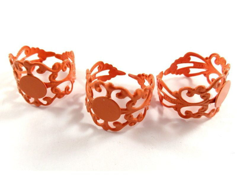 Orange Adjustable Rings