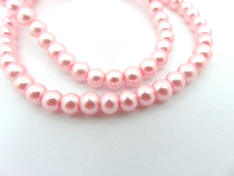 Pink Pearls, Smooth Round Glass Beads 6mm - 74 pcs. - 5222
