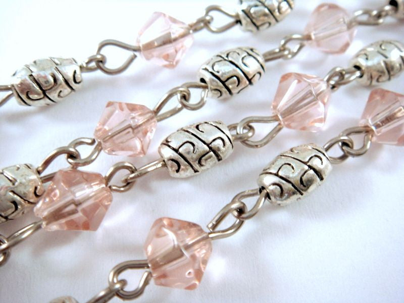 Pink Beaded Chain, Nickel Plated with Glass Bicones & Etched Oval Spacers 7x4mm - 39 in. - STR9087-PK39