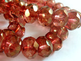 Pink Luster Czech Glass Beads