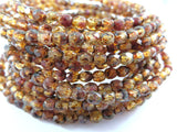 Amber Purple Czech Glass Transparent Mix Faceted Round Picasso Beads 4mm - 50 pcs. - G6038-PAM50