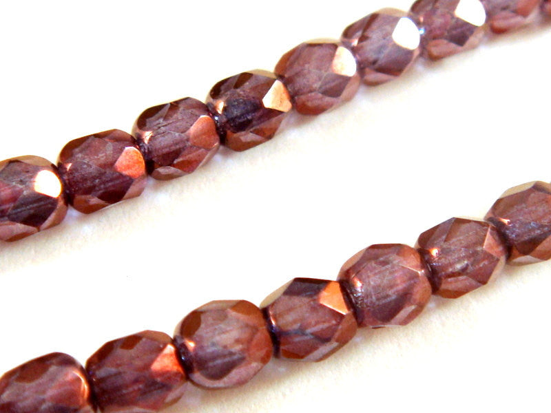 Purple Faceted Transparent Round Glass Beads