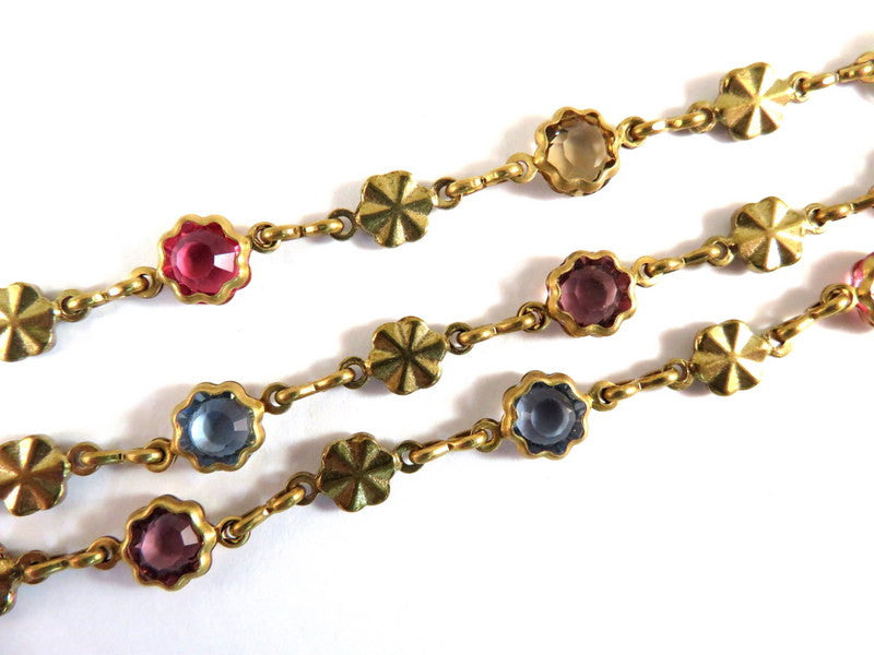 Raw Brass Chain, Multi-Color Round Transparent Glass & Brass Flower Links 6.5mm - 2 ft. - STR9092CH-AS24