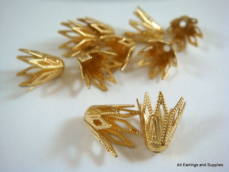 Raw Brass Bead Caps, Art Deco Vintage Style Unplated Cone Stars 9x8mm - 10 pcs. - F4147BC-UN10