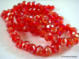 Red AB Faceted Rondelles