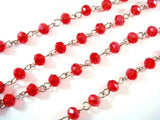 Red Beaded Rosary Chain